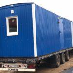 Синий жилой вагон дом на раме 1