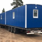 Синий жилой вагон дом на раме